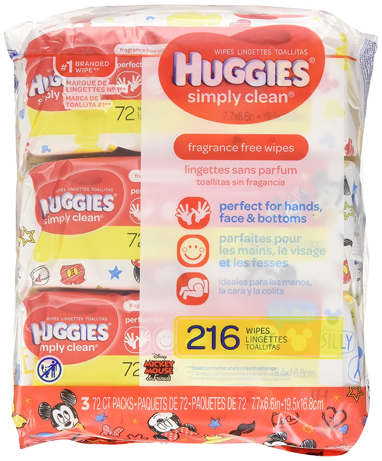 HUGGIES SIMPLY CLEAN Fragrance-Free Baby Wipes, Hypoallergenic (3X Soft Packs, 216 Count) Kimberly-Clark Corp. CA