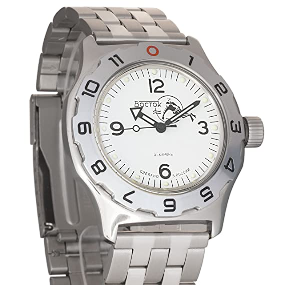 Vostok Anfibios Scuba Dude blanco ruso Militar reloj para hombre WR 200 M # 100920