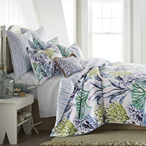 Levtex home - Crete Quilt Set - King Quilt + Two King Pillow Shams - Coastal - Blue, Green, Teal - Quilt (106x92in.) and Pillow Shams (36x20in.) - Reversible - Cotton Fabric