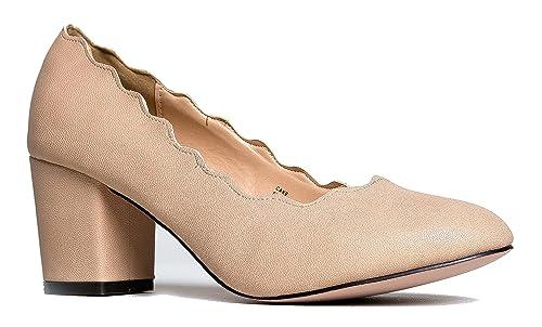 bb176e85694 J. Adams Chunky Low Cute Scallop Pumps - Casual Block Heel Shoe - Party  Vegan Work Dress Pumps - Cake by