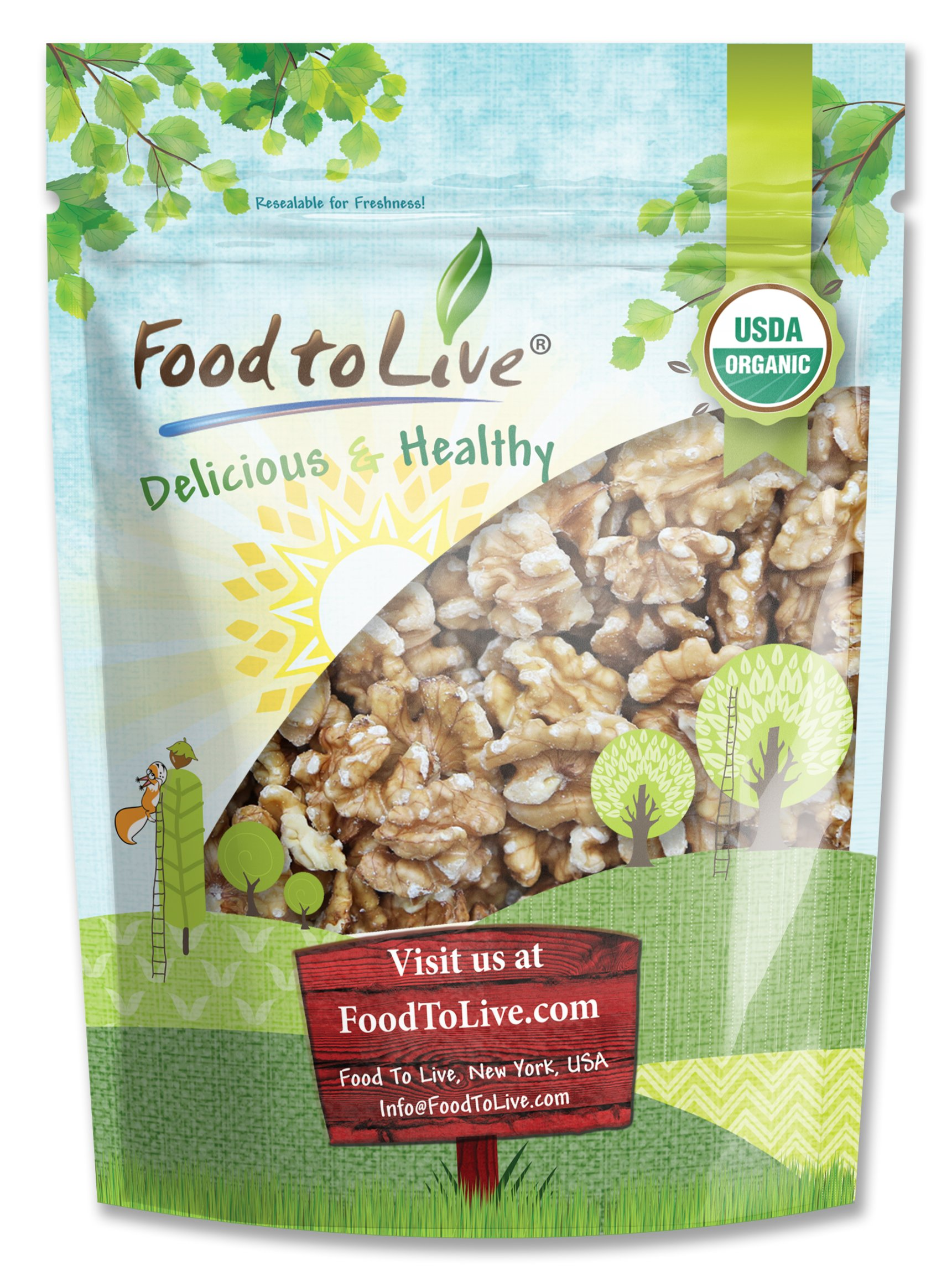 California Organic Walnuts by Food to Live (Raw, No Shell, Kosher, Natural, Bulk) — 8 Ounces