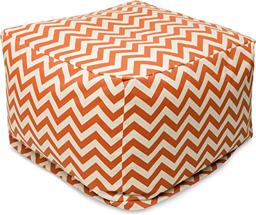 Majestic Home Goods Burnt Orange Zig Zag Ottoman