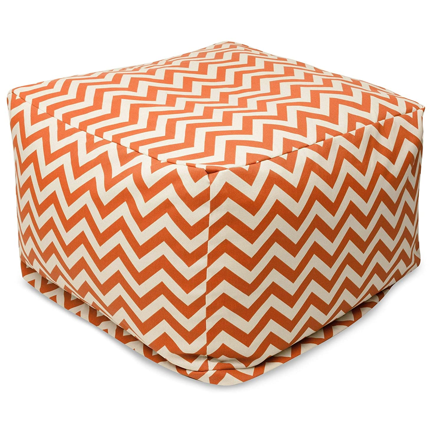 Majestic Home Goods Burnt Orange Zig Zag Ottoman, Large