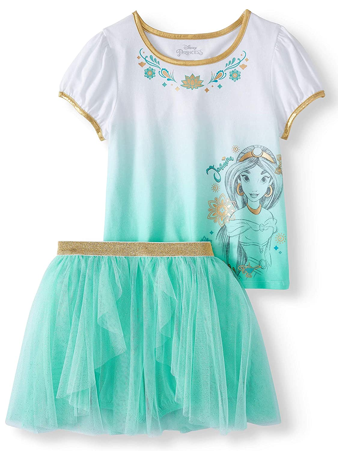 Disney Aladdin Princess Jasmine Gold Foil Shirt and Tulle Skirt 2 Pc Outfit Set