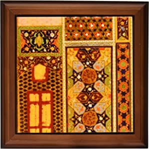 3dRose ft_162526_1 Arabian Style Multicolor Abstract Pattern Colorful Turkish Moroccan Islamic Islam Muslim Vintage Art Framed Tile, 8 by 8-Inch