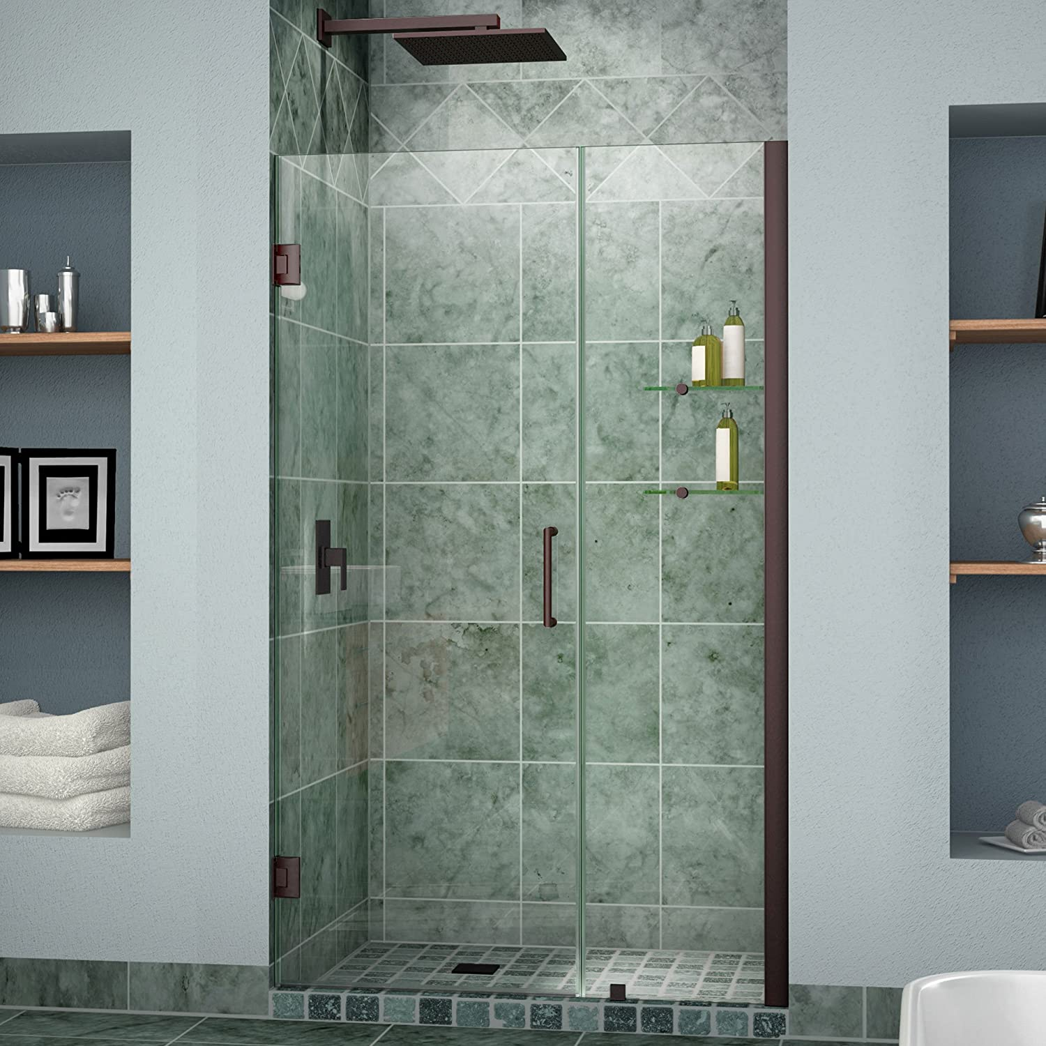 Dreamline unidoor 47 48 in width frameless hinged shower door 38 dreamline unidoor 47 48 in width frameless hinged shower door 38 glass oil rubbed bronze finish amazon eventshaper