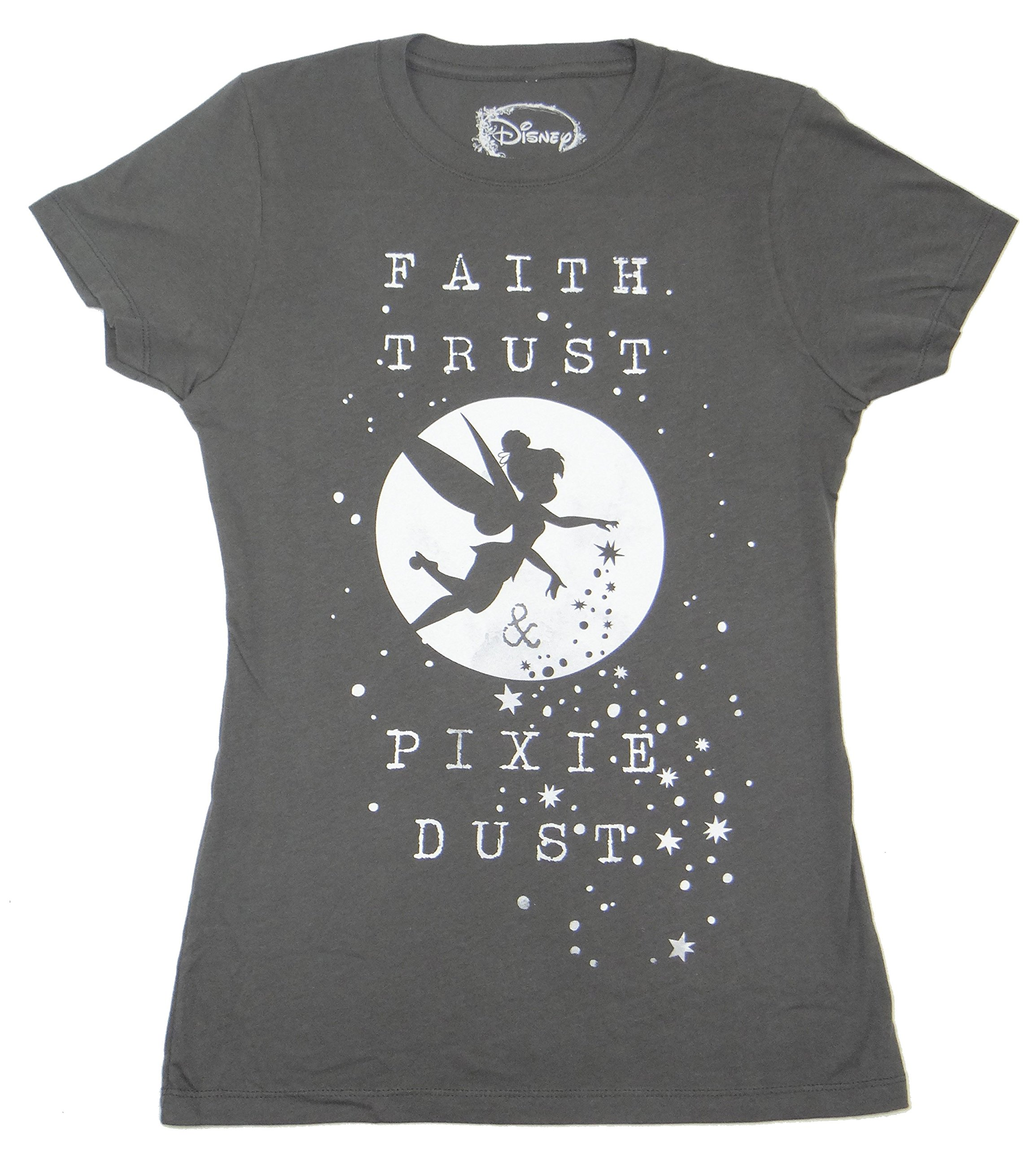 Peter Pan Tinkerbell Faith Trust And Pixie Dust Juniors T-shirt (Charcoal, X-Large) by Disney (Image #1)