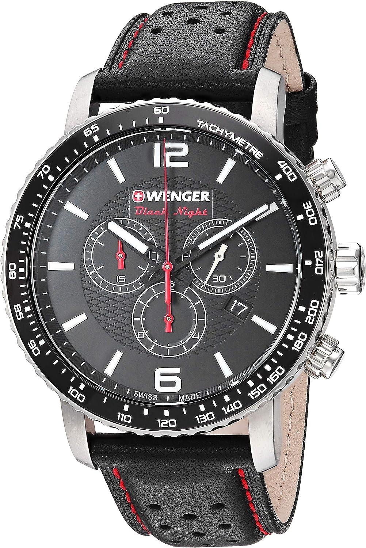 Wenger Men s Roadster Black Night Stainless Steel Swiss-Quartz Leather Strap, 22 Casual Watch Model 01.1843.101