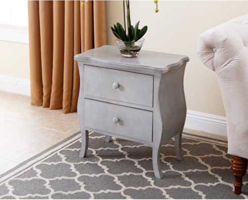 Abbyson Living Bellini 2 Drawer Nightstand in Gray
