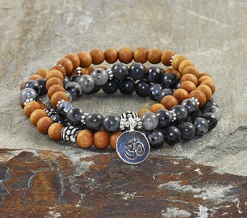 Amazon.com: 108 Sandalwood & Labradorite Mala, Yoga Wrist ...