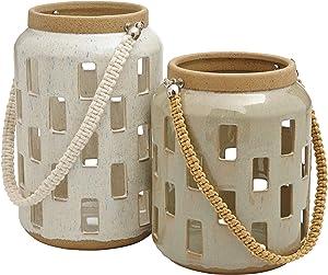 Amazon Brand – Rivet Modern Cylindrical Stoneware Candle Holder Lantern Home Decor Set - Set of 2, Gray and Cream