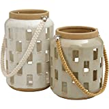 Amazon Brand – Rivet Modern Cylindrical Stoneware Candle Holder Lantern Home Decor Set - Set of 2, Gray and Cream