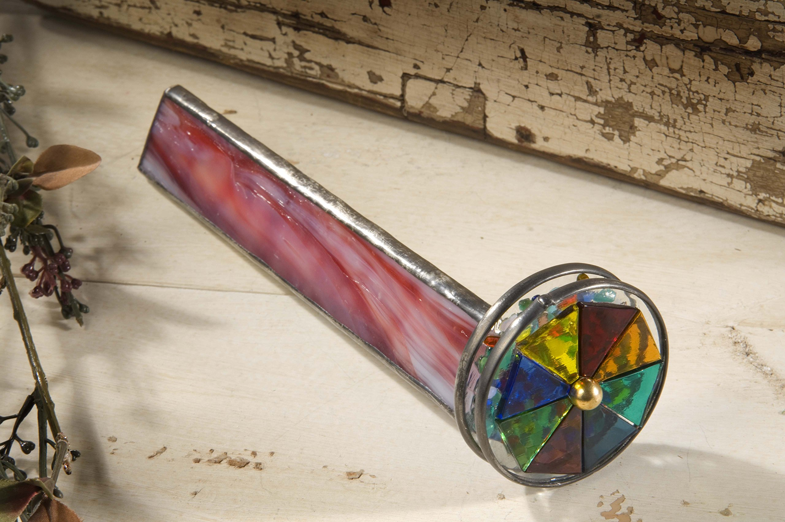 J Devlin Kal 107 Red Stained Glass Kaleidoscope Two Wheel Home Office Desk Decor Gift for Dad by J Devlin Glass Art (Image #3)