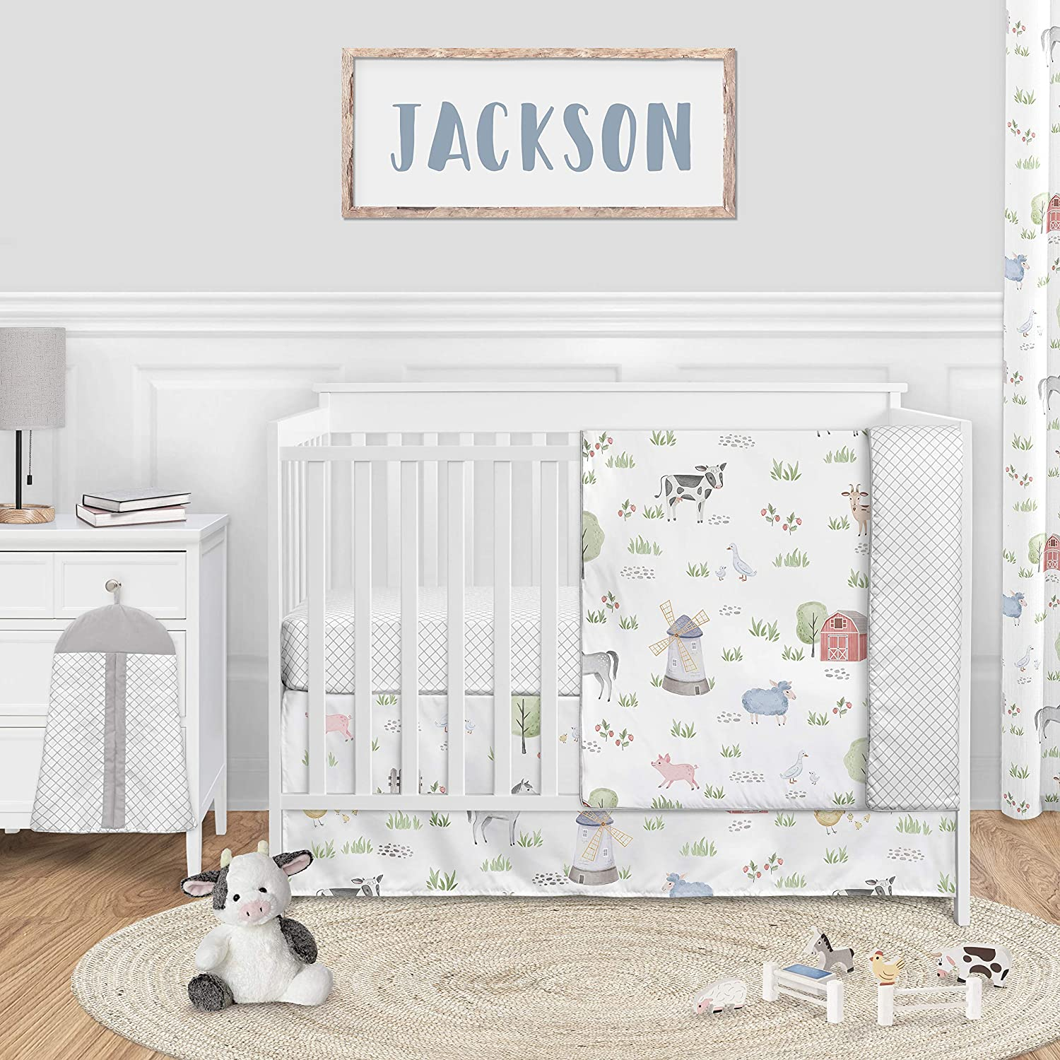 Sweet Jojo Designs Farm Animals Baby Boy or Girl Nursery Crib Bedding Set - 4 Pieces - Watercolor Farmhouse Lattice Horse Cow Sheep Pig