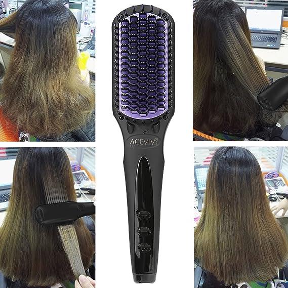 Cepillo alisador anión Acevivi. Cepillo alisador para dejar el cabello liso en solo 10 segundos, 0 daños: Amazon.es: Belleza