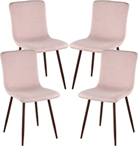 Poly and Bark Wadsworth Fabric Dining and Kitchen Side Chair with Metal Legs in Walnut Wood Color, Pink (Set of 4)