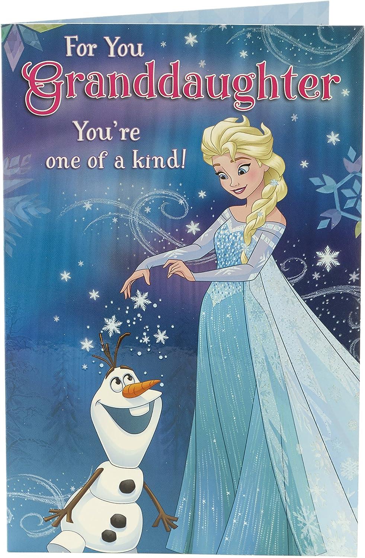 Awesome Amazon Com Disney Frozen Elsa Olaf Granddaughter Birthday Card Funny Birthday Cards Online Barepcheapnameinfo