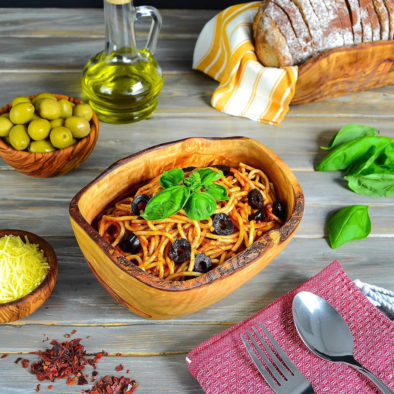 Robuste Backsch/üssel Poriddge Dekorative Schale Pasta Darido Olivenholz Salatsch/üssel mit salatbesteck Handgemachtes Geschenk Gesunde Serviersch/üssel f/ür Salat Serviersch/üssel Nudel