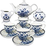 BTäT - Tea Set, China Tea Set, Tea Service, Tea Cups (8oz), Creamer and Sugar Set, Tea Cups and Saucer Set, Tea Pot, Tea Set for Adults, Tea Cups Set of 4, Blue Dream Tea Set, Porcelain Tea Set, Cups