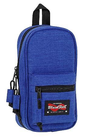 Blackfit8-Blackfit8-Plumier Mochila con 4 portatodos, Color Azul Oscuro, 23 cm (SAFTA 441734847)