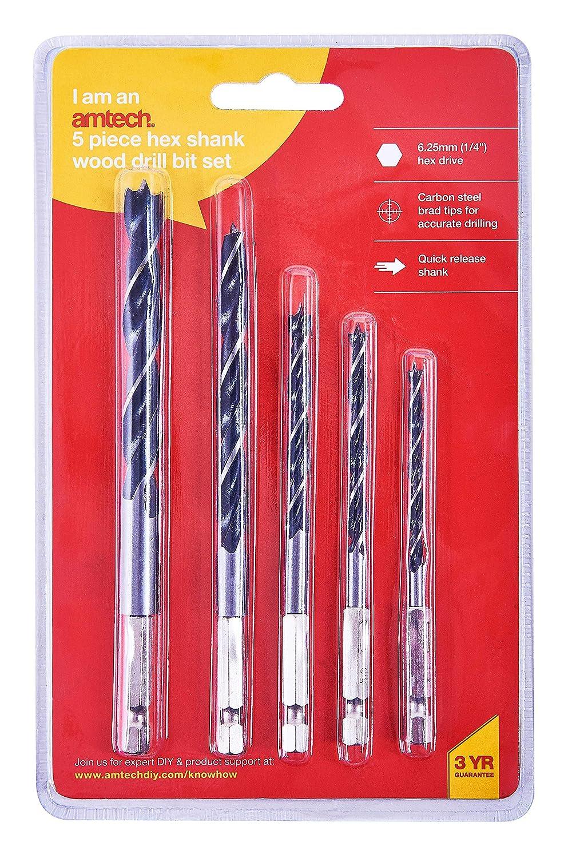 "5 Pcs Hex Shank Wood Drill Bit Set For 1//4/"" Hex Cordless Screwdrivers By Am-Tech"