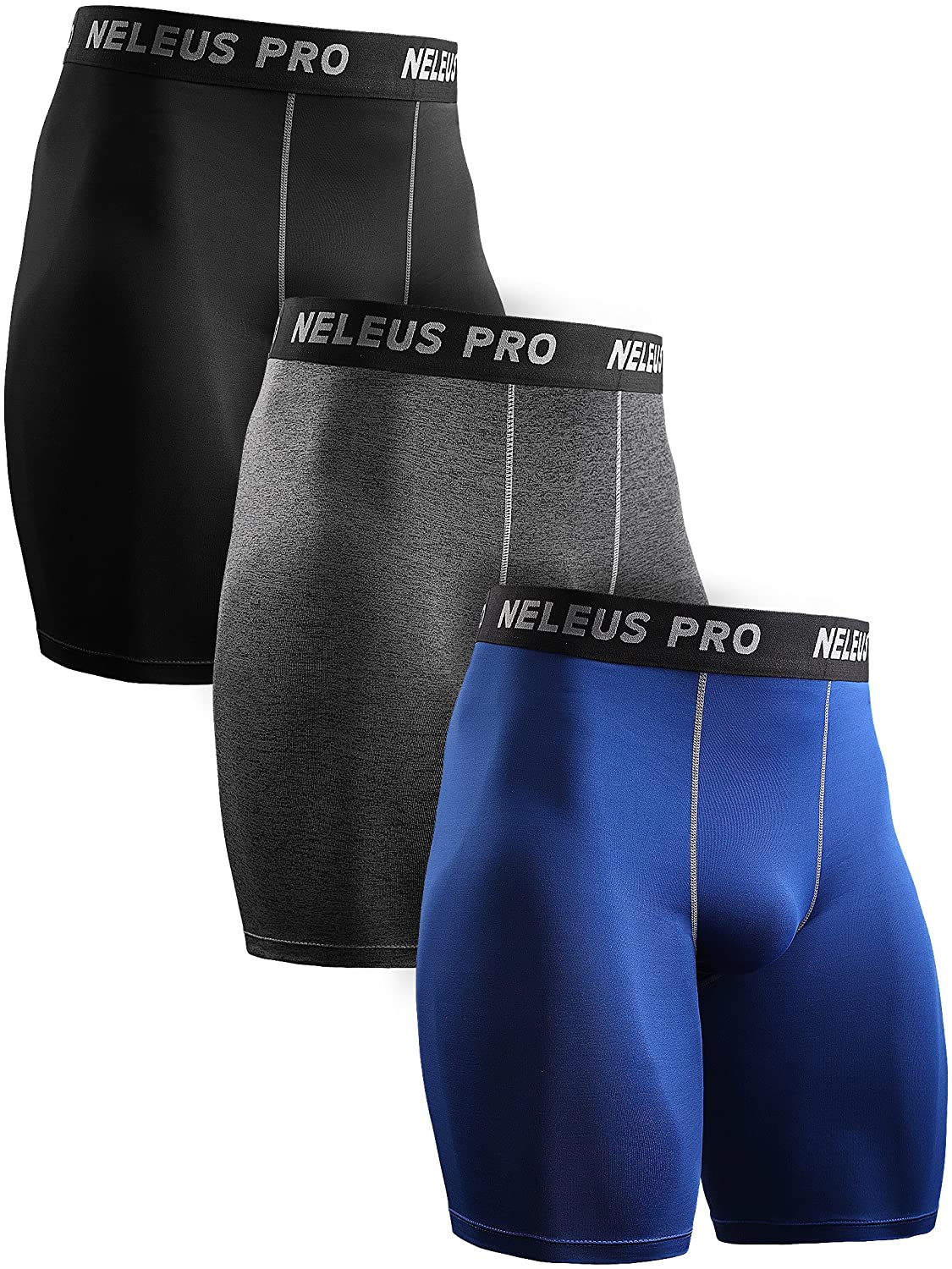 Neleus Men's 3 Pack Compression Athletic Running Shorts,146,Black,Grey,Blue,Medium DK0146B+H+LL#3