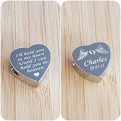 Memorial Gift Personalised Holographic Engraved Heart Charm Funeral Memory Of Fashion Jewelry
