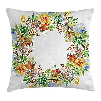 amazon flowers decor throw pillow cushion cover wreath with