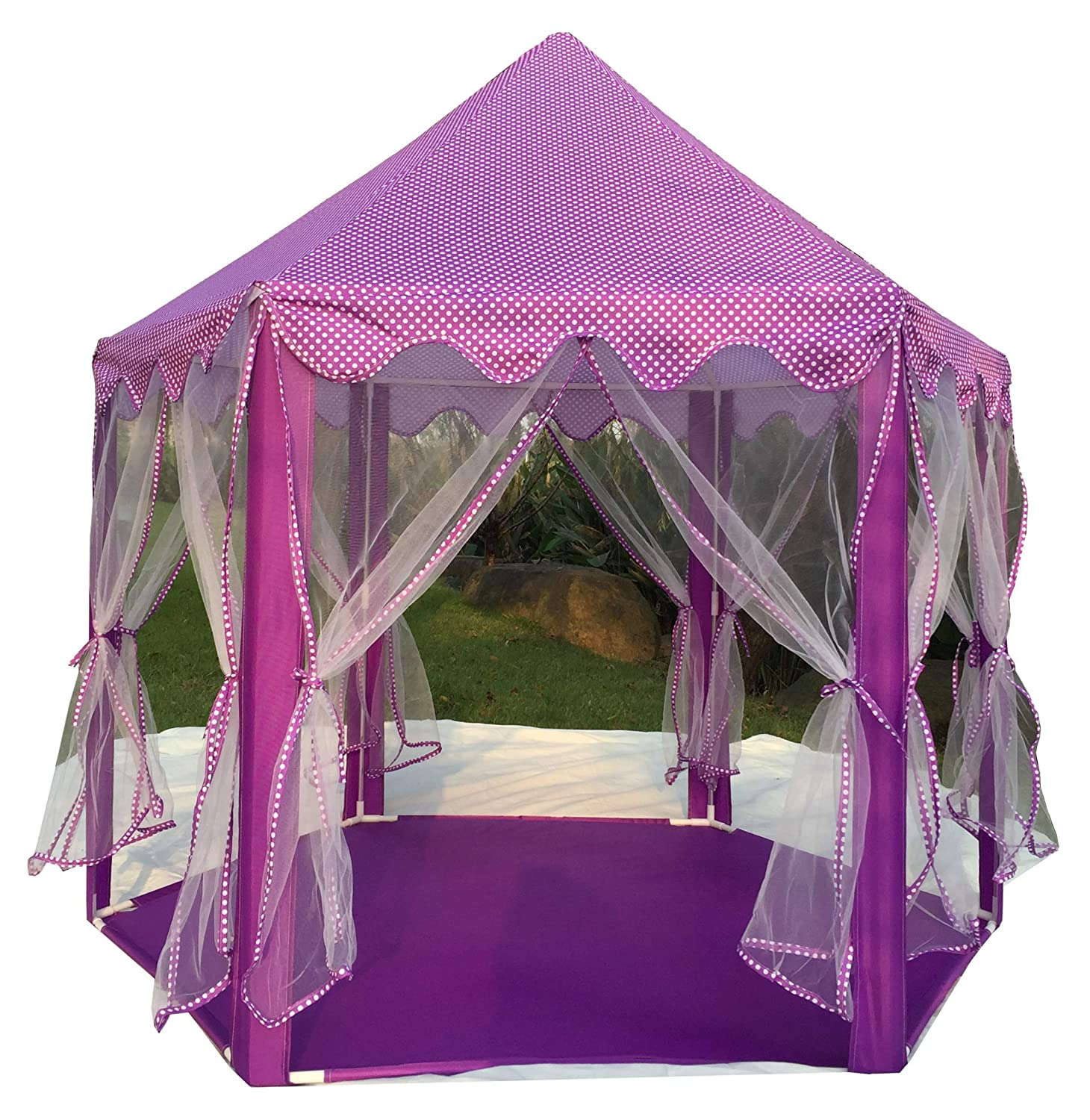 Pericross Hexagon Princess Play Tent with 33ft 100 LED Diodes AA Battery Powered Brass Wire Lights