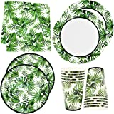 """Tropical Palm Leaf Party Supplies Set 24 9"""" Paper Plates 24 7"""" Plate 24 9 Oz Cups 50 Lunch Napkin for Hawaiian Luau Green Lea"""
