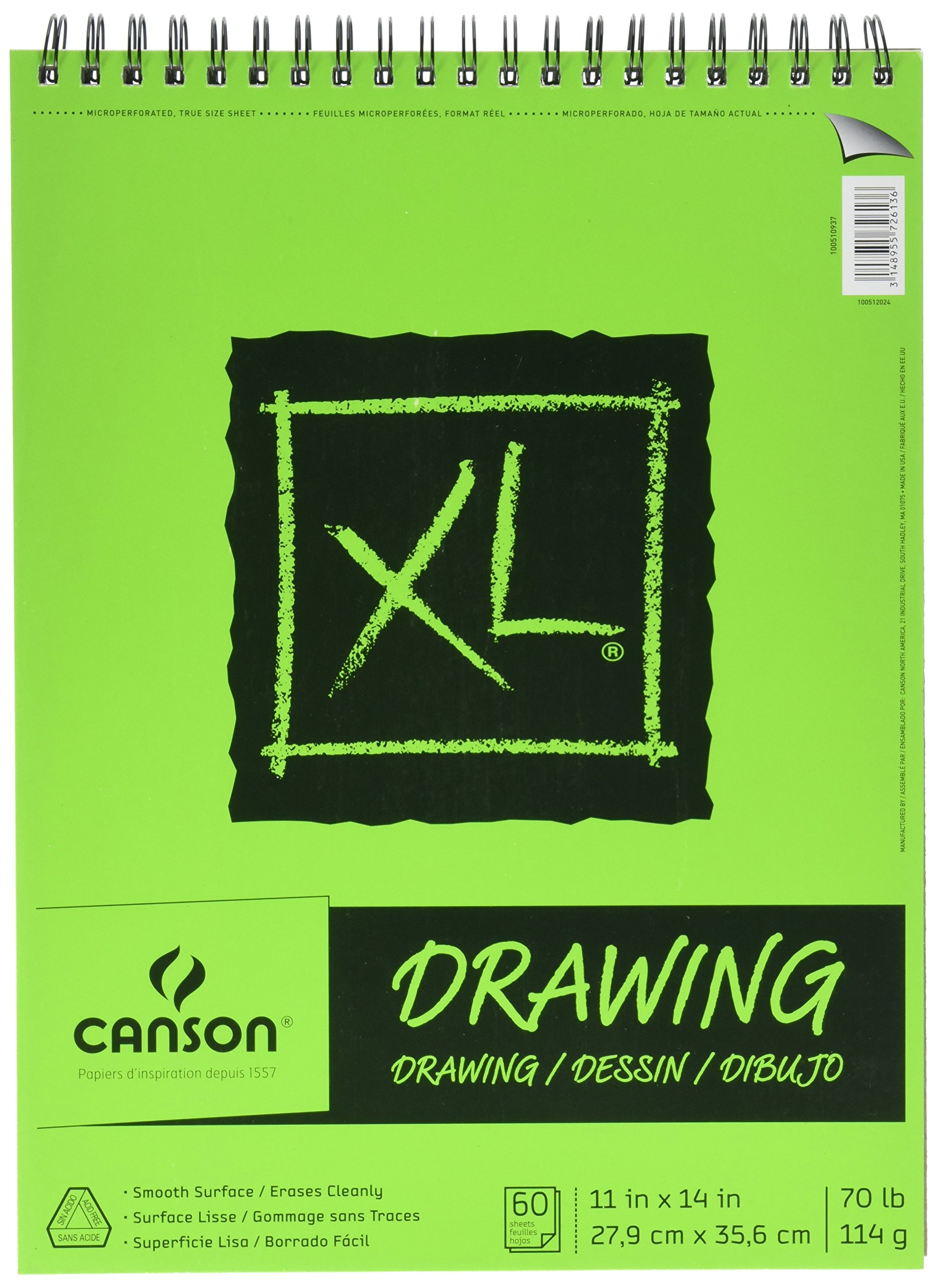 Canson XL Series Drawing Paper Pad, Micro Perforated, Smooth Surface, Side Wire Bound