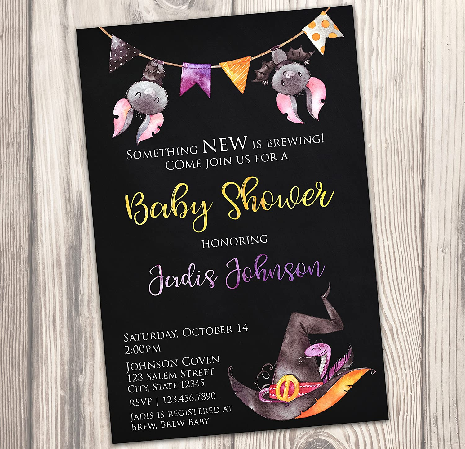 Amazon.com: Witch Baby Shower Invitation - Halloween Baby Sprinkle Invite -  Fall - Watercolor - Autumn - 4x6: Handmade