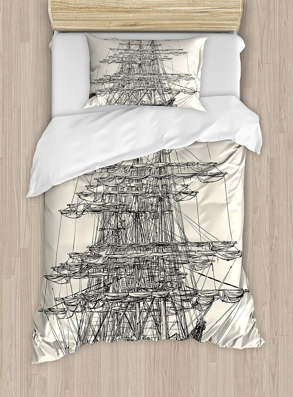 Ambesonne Pirate Ship Duvet Cover Set, Sailing Boat Detailed Illustration Nautical Maritime Theme Vintage Style Art, Decorative 2 Piece Bedding Set with 1 Pillow Sham, Twin Size, Black Cream