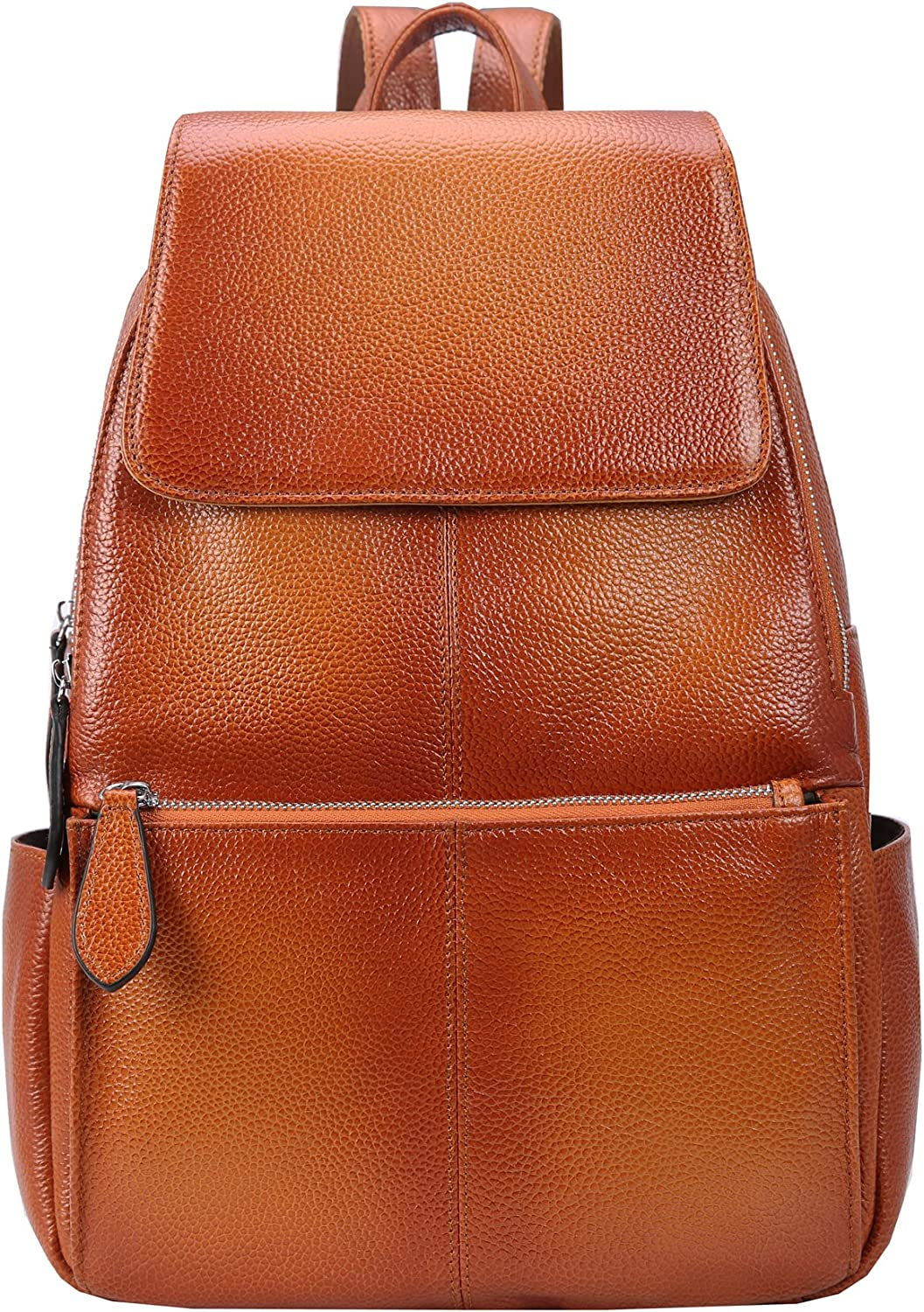 Black-R Heshe Womens Leather Backpack Casual Daypack Ladies Fashion Bag