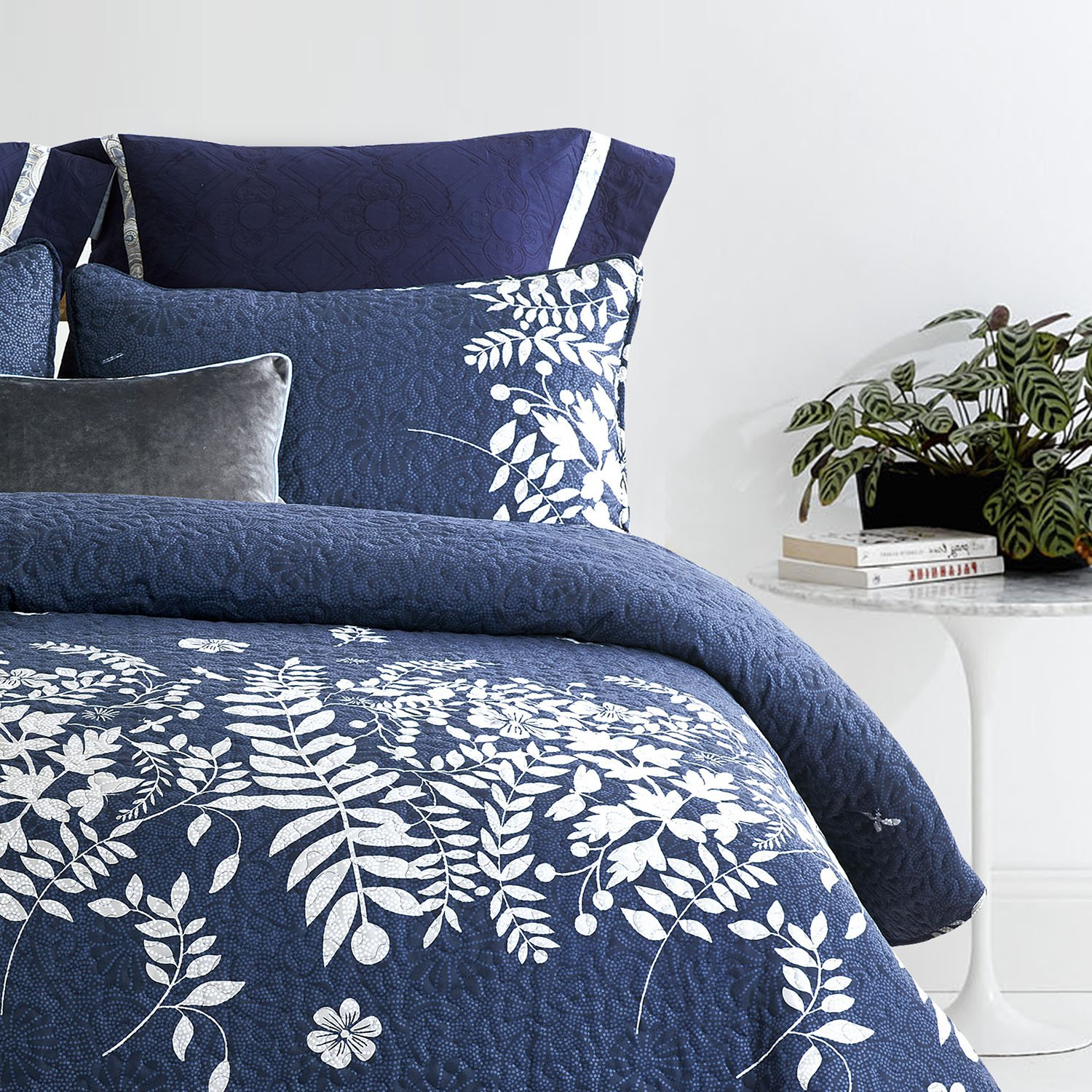 Wake In Cloud - Navy Blue Quilt Set, Gray Grey Floral Flowers Tree Leaves Modern Pattern Printed, Soft Microfiber Bedspread Coverlet Bedding (3pcs, King Size) by Wake In Cloud (Image #4)