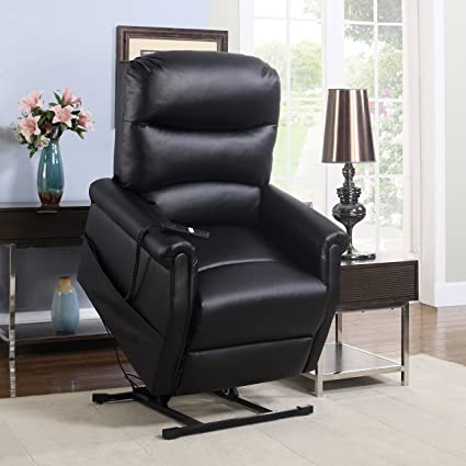 Madison Home Classic Plush Bonded Leather Power Lift Recliner Living Room  Chair Black