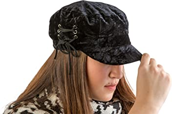4bb0a536b2e August Hat Co Crushed Velvet Lace-Up Accented Lieutenant Cap