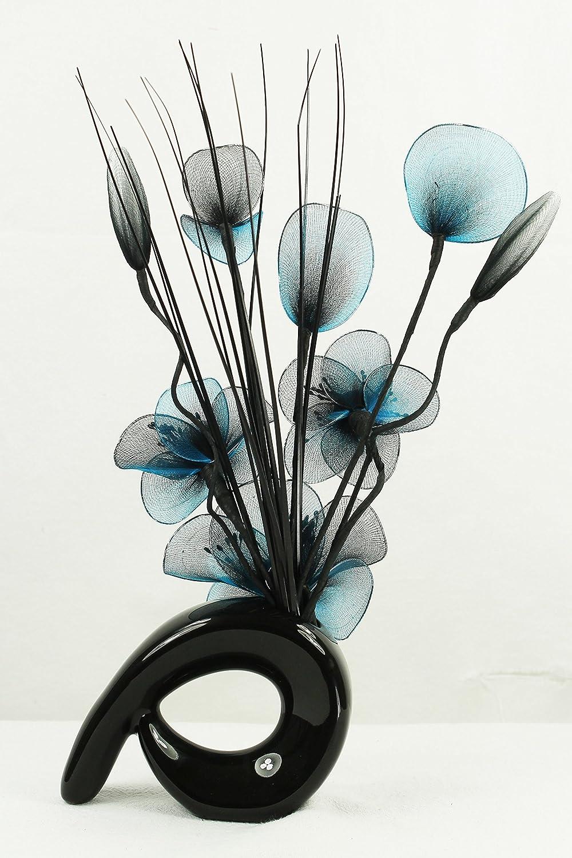Flourish 794279 Lot de 2 vases avec fleurs artificielles 32 cm Bleu sarcelle