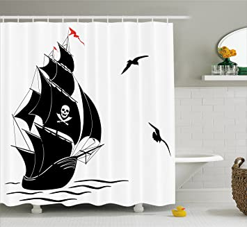 Ambesonne Pirate Shower Curtain By Silhouette Of Old Sail Ship Flying Seagulls Ocean Waves