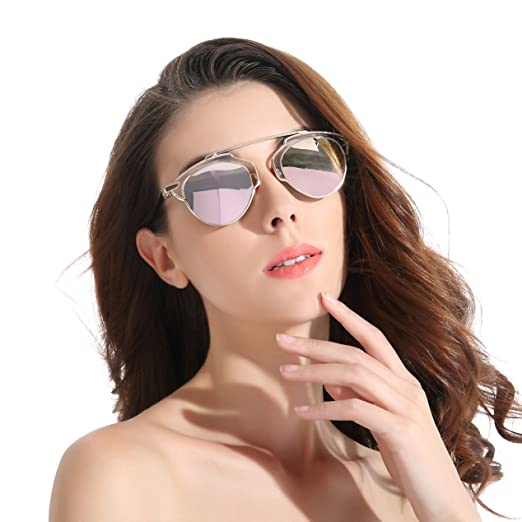 ec683050400 CHB Women s HD Mirrored Lens Creative Metal Frame Street Fashion Designer  Polarized Sunglasses UV400 with Case