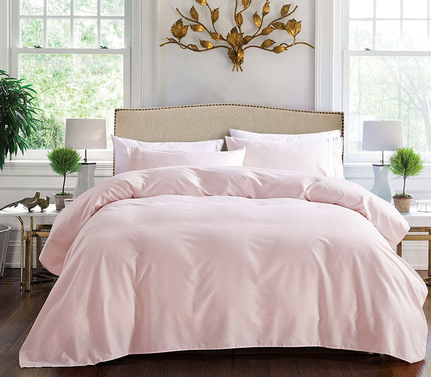 3 Line Microfiber 4 Piece Bed Sheet Set (Full, Rose Pink
