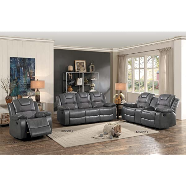 Homelegance Taye Glider Double Recliner Loveseat with Center Cup Holders Storage Console Leather Gel Matched Microfiber, Grey