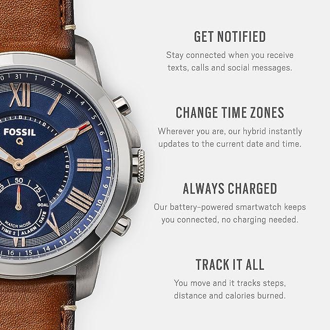Smartwatch Hybride Cuir Homme Acier Et Bracelet Grant Q Fossil Ios Brun Compatibilité Android Boîte Sport Cadran En Pile Incluses FK1JTlc3