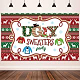 Ugly Sweater Party Supplies Large Fabric Red and Green Ugly Xmas Sweater Party Backdrop for Ugly Sweater Christmas Party…