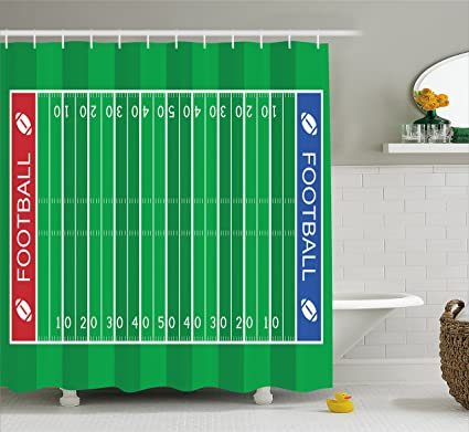 Lunarable Football Shower Curtain American Field Playground Stripes And Numbers League Scramble Score