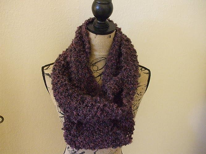 Amazon Handmade Loose Chunky Knit Infinity Scarf Purple Dark