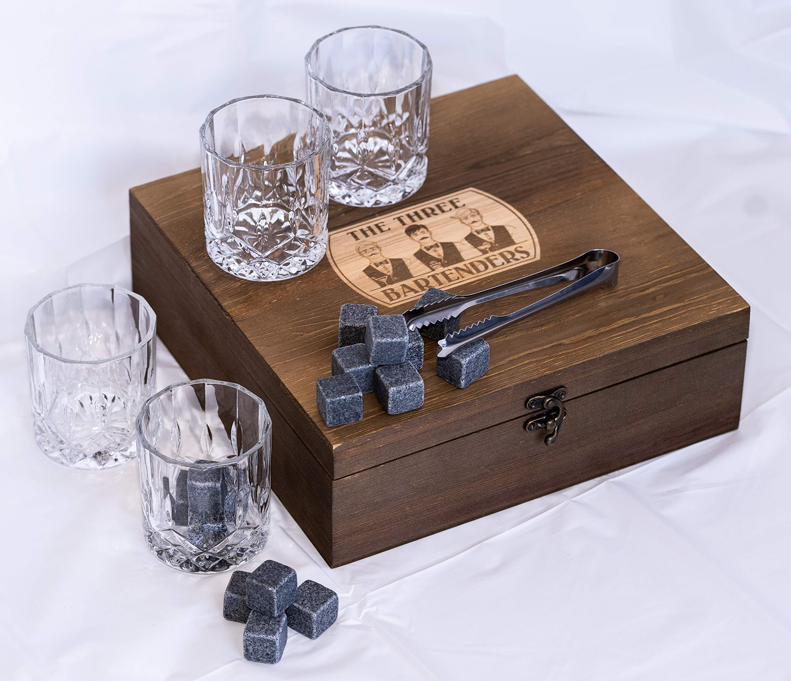 Whiskey Glasses and Stones Gift Set in Premium Wooden Presentation Box - 4 Extra Large Glasses, 16 Chilling Stones, Ideal Gift for Men, Fathers Day, Brother Gift (7.7) by The Three Bartenders (Image #2)