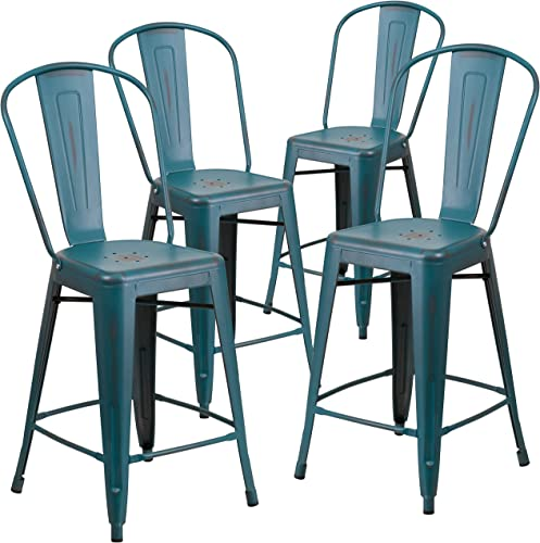 Flash Furniture Commercial Grade 4 Pack 24 High Distressed Kelly Blue-Teal Metal Indoor-Outdoor Counter Height Stool with Back