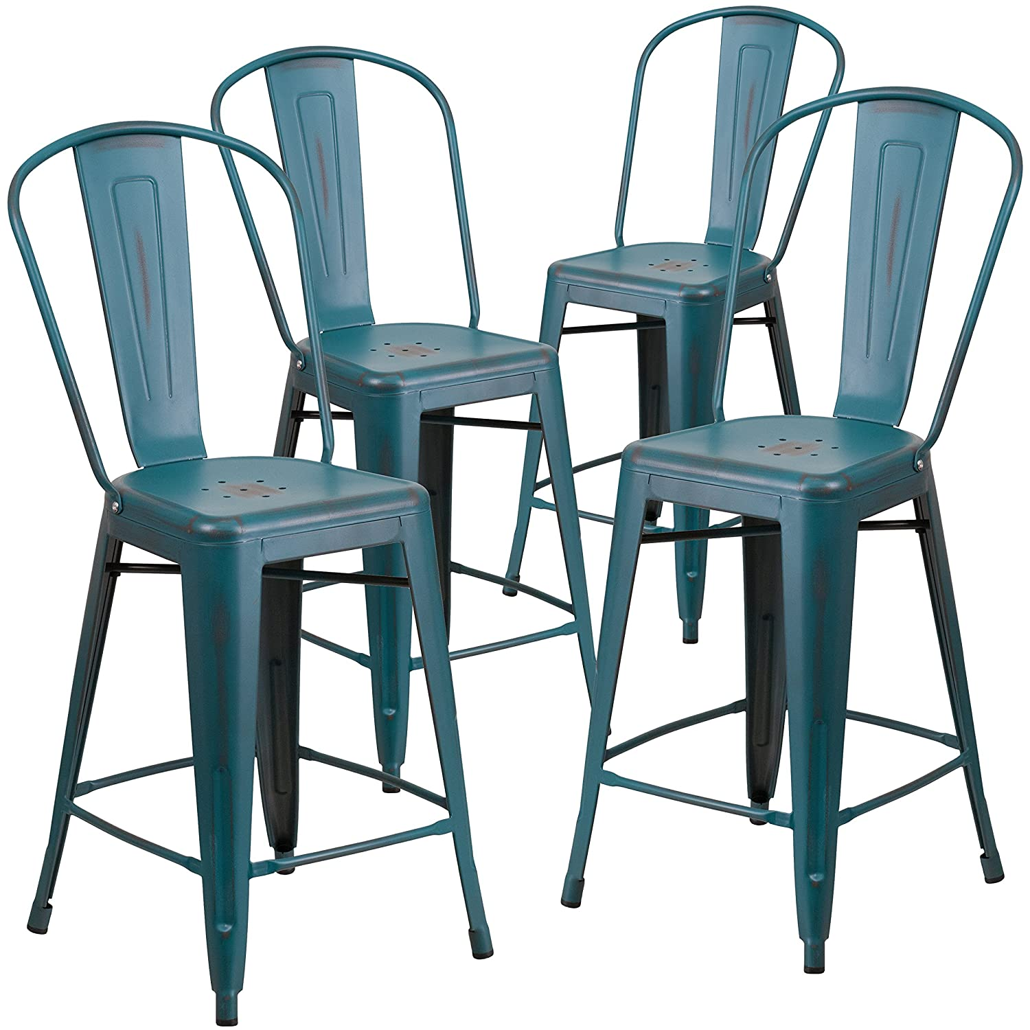 Amazon.com: Flash Furniture 4 Pk. 24\'\' High Distressed Kelly Blue ...