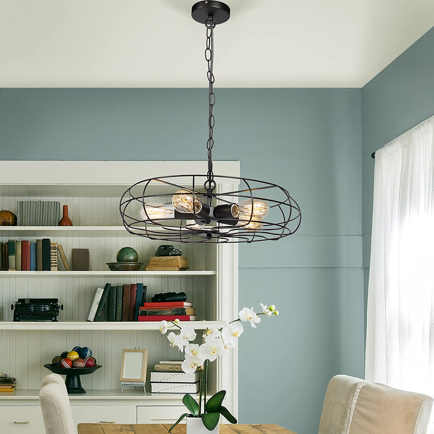 Best Choice Products Industrial Vintage Lighting Ceiling Chandelier ...